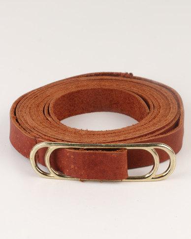 non-european® Wraparound Slider Belt Tan and Gold