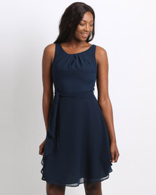 non-european® Twist & Sash Dress Navy