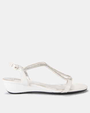 Staccato Wedge Sandals White