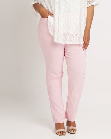 Queenspark Stud Pocket Detail Stretch Woven Slacks Pink