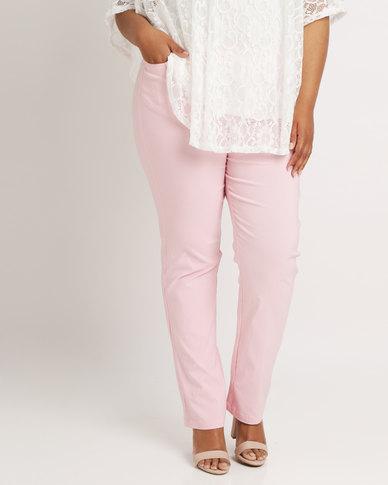Queenspark Stud Pocket Detail Stretch Woven Slacks Pink