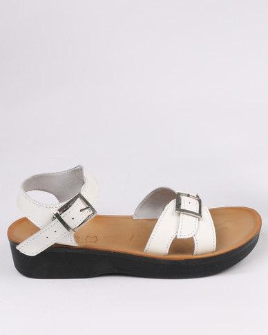 Sandal Ladies Angelsoft Leather Comfort Wedge Slingback White hCdtsQrx
