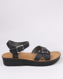 Angelsoft Ladies Leather Comfort Slingback Wedge Sandal Blue