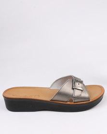Angelsoft Ladies Leather Comfort Slip On Wedge Sandal Pewter