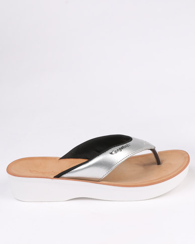Angelsoft Ladies Leather Comfort Thong Sandal Silver