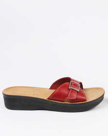 Angelsoft Ladies Leather Comfort Slip On Wedge Sandal Red