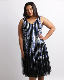 Queenspark Plus Printed Ribbon Dress Blue