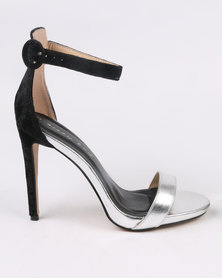 Sissy Boy Sexy Fabric Combo Sandal Silver/Black