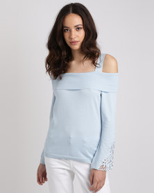 Queenspark Lace Inset Marilyn Jersey Light Blue