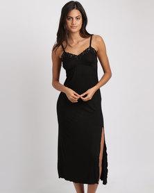 Lila Rose Long Lace Chemise Black