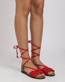 Utopia Crochet Flat Sandal Red