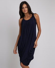 BiBi Rouge Chloe Drape Dress Navy