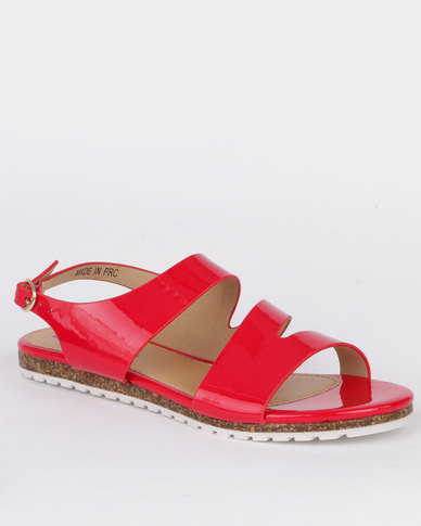 69edab3cd Pierre Cardin Ladies Flat Sandals Red
