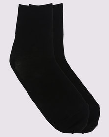 Falke Mercerised Cotton Anklet Socks Black