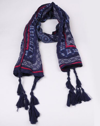 Miss Maxi Large Fashion Printed Scarf Navy