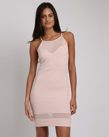 New Look Mesh Panel Bodycon Mini Dress Pink