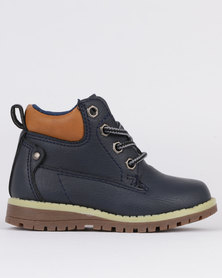 Awol Boys Lace Up Sneaker Boot Navy