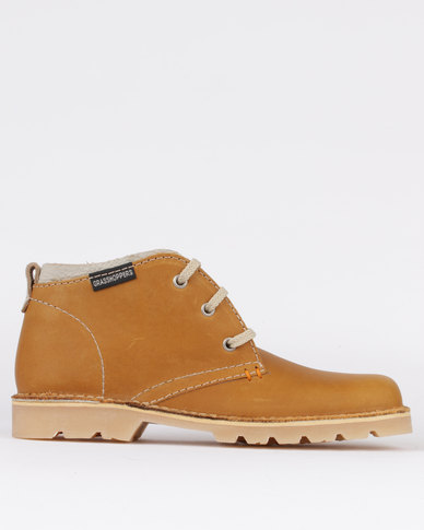 Grasshoppers Sahara Leather Casual Lace Up Boot Whiskey