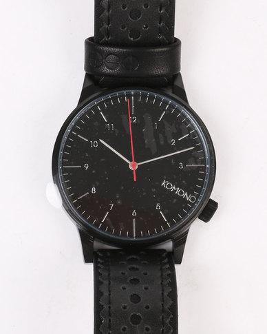 Komono Winston Brogue Watch Jet Black