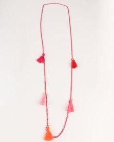 UB Creative Tassel Pink Chain Necklace Multi