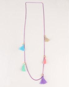 UB Creative Tassel Purple Chain Necklace Multi