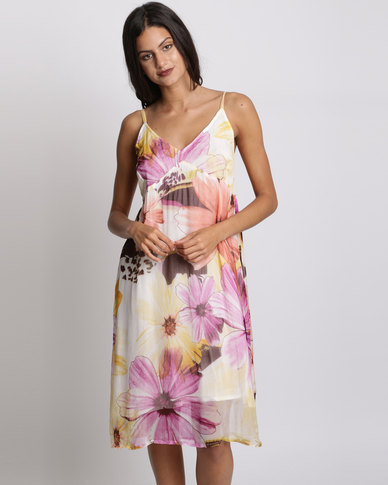 UB Creative Art Deco Print Dress Floral Purple