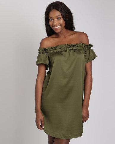 Utopia Bardot Dress Olive