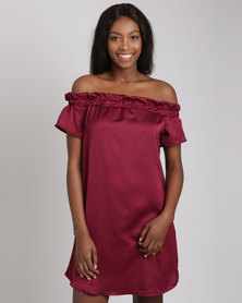 Utopia Bardot Dress Burgundy