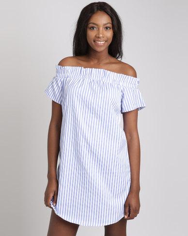Utopia Stripe Bardot Dress Blue