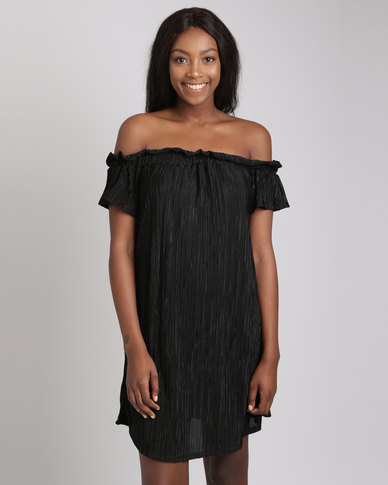 Utopia Plisse Bardot Dress Black