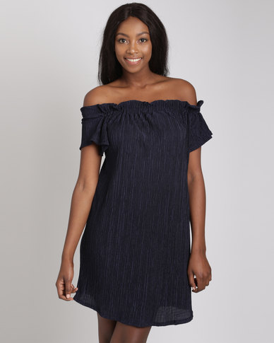 Utopia Plisse Bardot Dress Navy