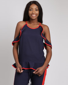 Utopia Ruffle Halter Top With Chilli Binding Navy