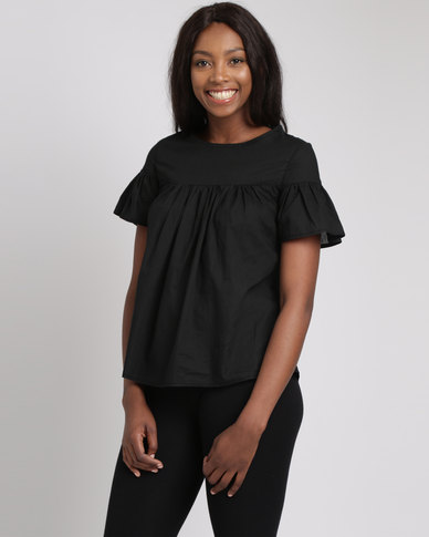 Utopia Babydoll Cotton Top Black