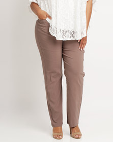 Queenspark Stud Pocket Detail Stretch Woven Slacks Mocha