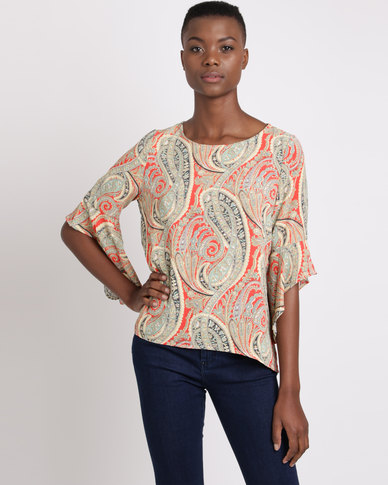 Queenspark Paisley Frill Sleeve Printed Blouse Orange