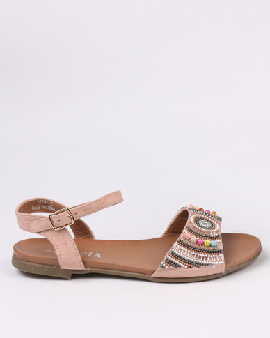 Utopia Beaded Flat Sandal Nude