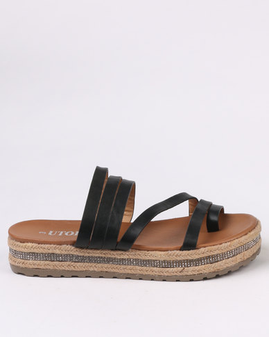 sale for nice discount official site Utopia Utopia Flatform Strappy Sandal Black low cost akg9N