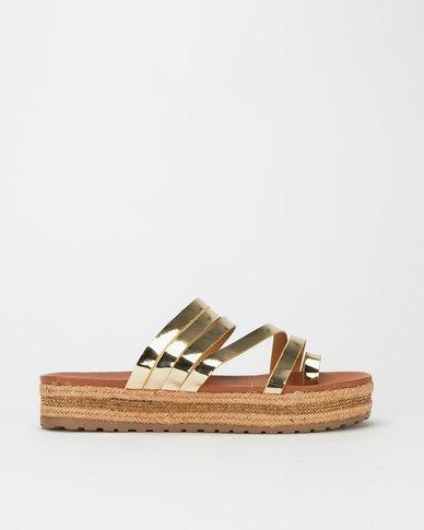 Utopia Flatform Strappy Sandals Gold