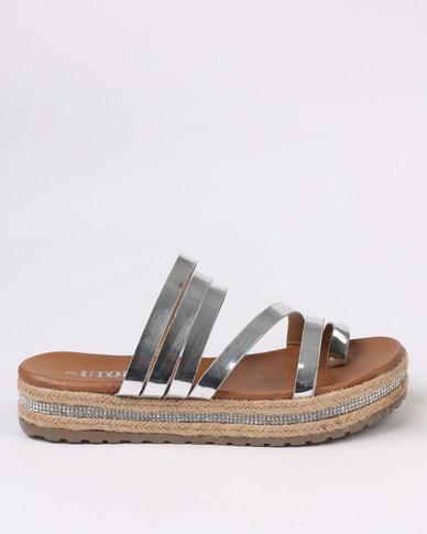 Utopia Flatform Strappy Sandal Silver