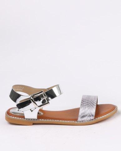 browse cheap price Utopia Utopia Vamp Strap Flat Sandal Silver discount buy UgMNSI