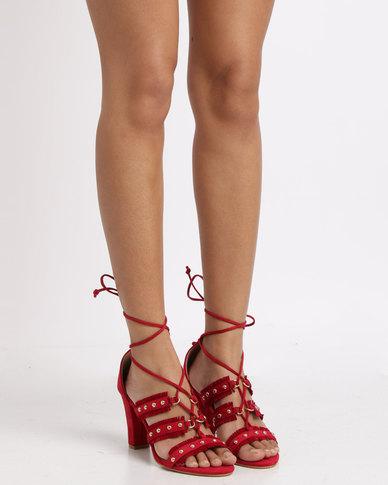 Utopia Tie Up Heel Sandals Red