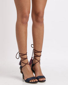 Utopia Lace Up Heel Sandal Navy