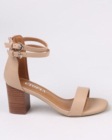61af23ee6ab6 Utopia Block Heel Sandals Beige