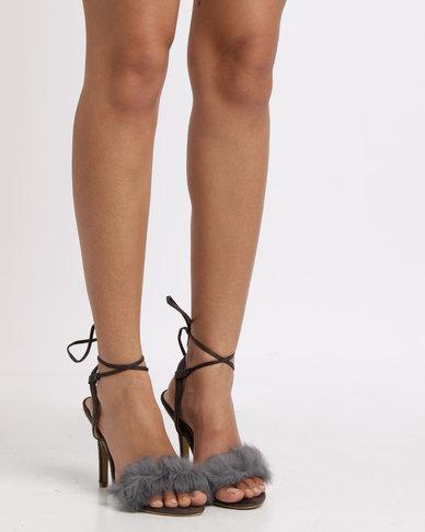 Utopia Faux Fur Vamp Heel Sandals Grey