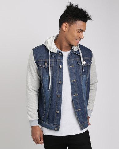 bc5005480 Utopia Men's Denim Jacket With Sweatshirt Sleeves And Detachable Hood Blue