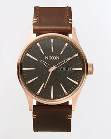 Nixon Sentry Leather Watch Rose Gold-Gunmetal and Brown