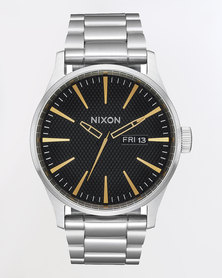 Nixon Sentry SS Stamped Watch Gold and Black