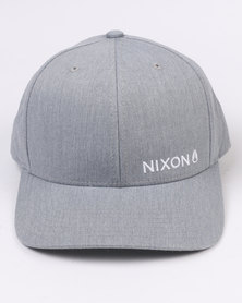 Nixon Lockup Snapback Hat Heather Grey