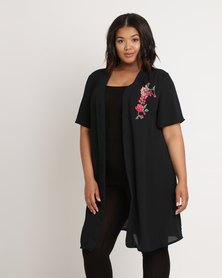 Utopia Plus Kimono With Embroidery Applique Black