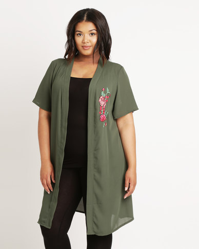 Utopia Plus Kimono With Embroidery Applique Khaki